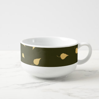 Autumn Gold Leaves Pattern Soup Bowl With Handle