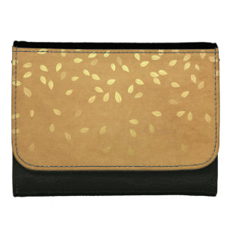 Autumn Gold Leaves Pattern Wallet For Women