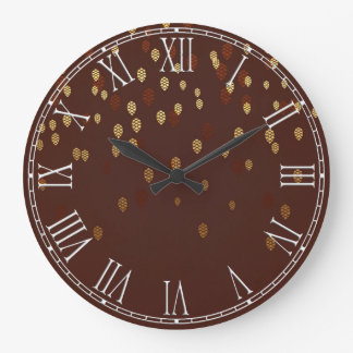 Autumn Gold Leaves/Pinecone Pattern Large Clock