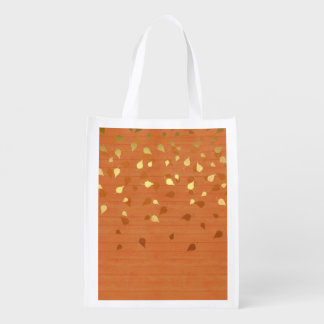 Autumn Gold Leaves/Pinecone Pattern Market Totes