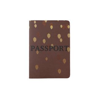 Autumn Gold Leaves/Pinecone Pattern Passport Holder