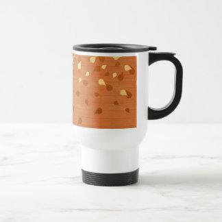 Autumn Gold Leaves/Pinecone Pattern Travel Mug