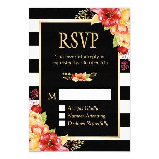 Autumn Gold Orang Red Floral B&W Stripes RSVP Card