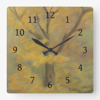 Autumn Gold Square Wall Clock