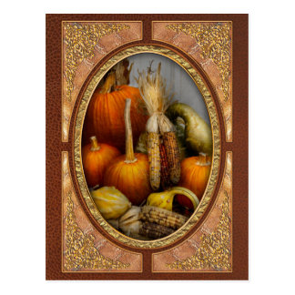 Autumn - Gourd - Pumpkins and Maize Postcard