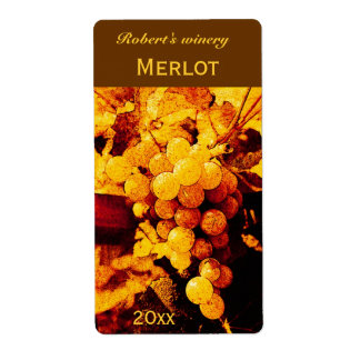 autumn grapes wine bottle label