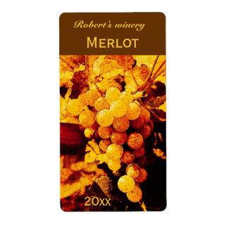 autumn grapes wine bottle label shipping label