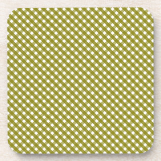 Autumn Green Gingham Pattern Coaster