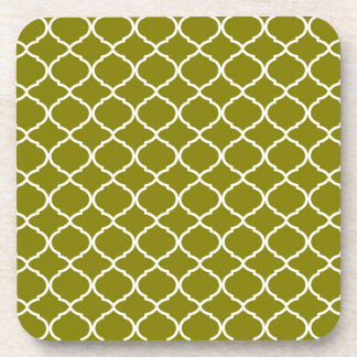Autumn Green Moroccan Pattern Coaster