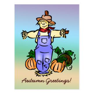 Autumn Greetings Scarecrow Postcard - White Back