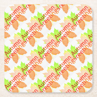 Autumn Greetings Square Paper Coaster