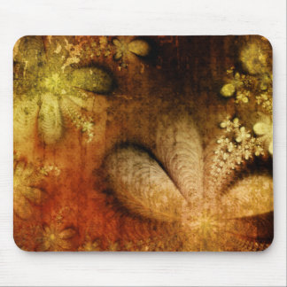 Autumn Grunge Floral Orange Yellow Mouse Pad