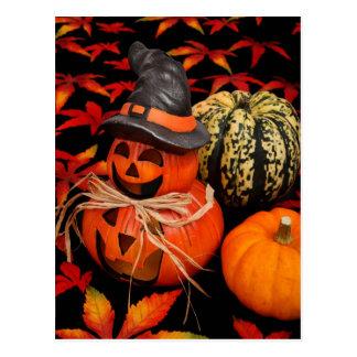 Autumn Halloween Pumpkins and Fall Leaves Postcard