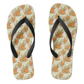 Autumn Hand Painted Illustration Flip Flops