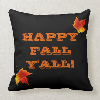 Autumn Happy Fall Y'all Orange Maple Leaf Throw Pillow