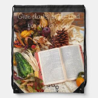 Autumn Harvest and Bible Drawstring Bag