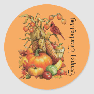 Autumn Harvest Happy Thanksgiving Orange Stickers