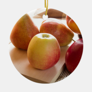 Autumn harvest of apples and pears ceramic ornament