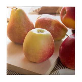 Autumn harvest of apples and pears ceramic tiles