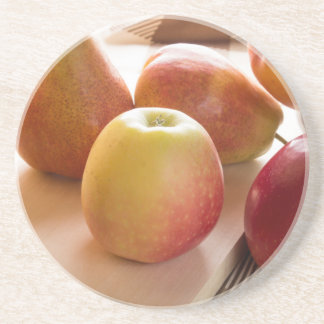 Autumn harvest of apples and pears drink coasters