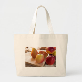 Autumn harvest of apples and pears large tote bag
