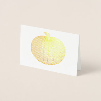 Autumn Harvest Pumpkin Halloween Thanksgiving Fall Foil Card