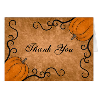 Autumn harvest pumpkin Thanksgiving thank you Card