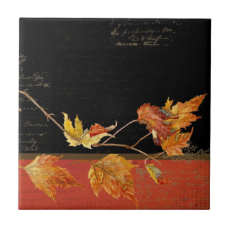 Autumn Harvest Red Maple Falling Leaves Leaf Ceramic Tile