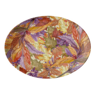 Autumn Harvest Rustic Tree Leaves Thanksgiving Porcelain Serving Platter