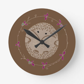 Autumn hedgehog round clock
