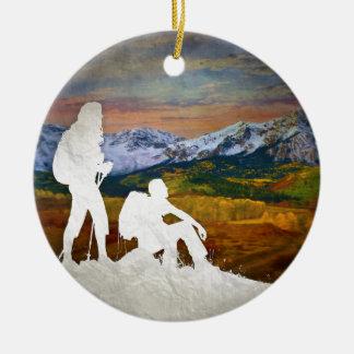 Autumn hike ceramic ornament