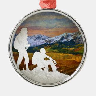 Autumn hike metal ornament