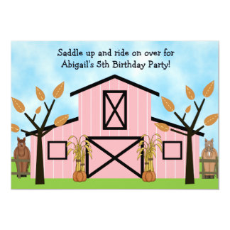 Autumn Horses and Pink Barn Birthday Invitation