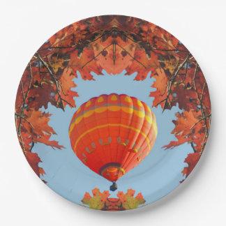 Autumn Hot Air Balloon 9 Inch Paper Plate