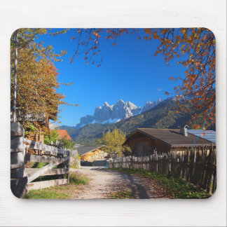 Autumn in a village in the Dolomites in Italy Mouse Pad