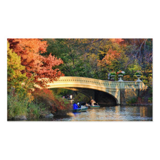 Autumn in Central Park: Boaters by Bow Bridge  #01 Business Card