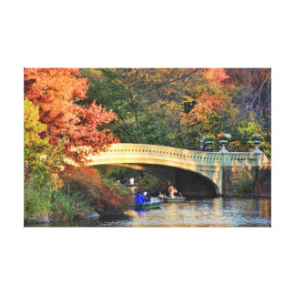Autumn in Central Park: Boaters by Bow Bridge  #01 Canvas Print