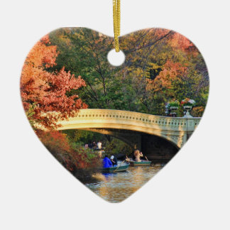 Autumn in Central Park: Boaters by Bow Bridge  #01 Ceramic Ornament