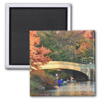 Autumn in Central Park: Boaters by Bow Bridge  #01 Magnet