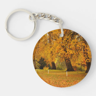 Autumn In Park Double-Sided Round Acrylic Key Ring
