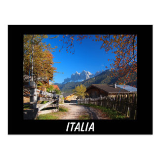 Autumn in the Dolomites in Italy black postcard