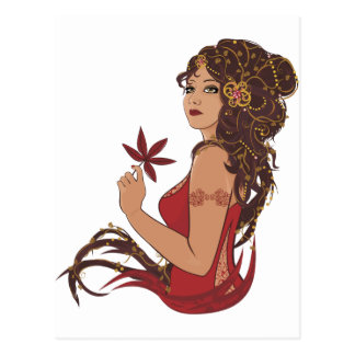 Autumn lady postcard