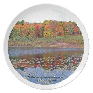Autumn Lake Scene Party Plates