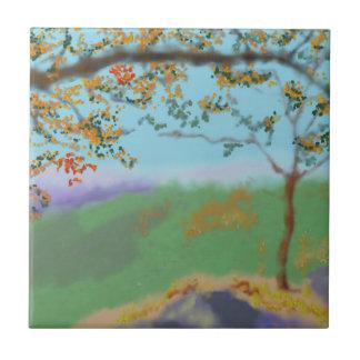 Autumn Land Art Tile