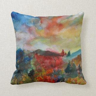 Autumn Landscape Watercolor Art  Cushion