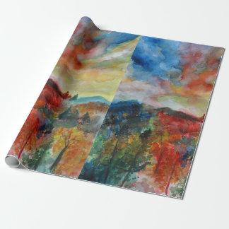 Autumn Landscape Watercolor Art  Wrapping Paper