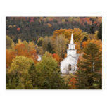 Autumn landscape with church, Vermont, USA