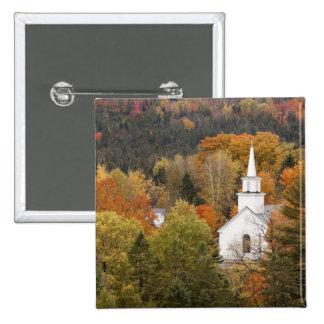 Autumn landscape with church, Vermont, USA 2 Inch Square Button