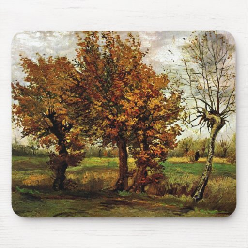 Autumn Landscape with Four Trees by van Gogh Mousepads