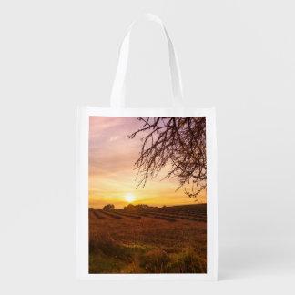 Autumn lavender field on sunset market totes